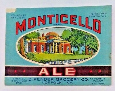 1930s - U-Permit - SOUTHERN BREWING CO. - Monticello Ale - Norfolk, VA