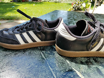 Adidas Samba Classic J Youth Size 3.5 Boys Black White 036516 Leather Shoes