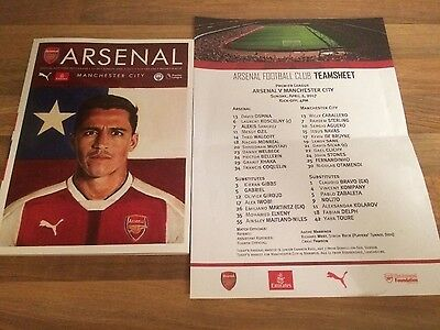 Arsenal v Manchester City Official Programme 2nd April 2017 with teamsheet