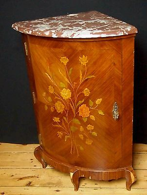 Decorative Antique French Corner Cabinet Marble Top Veneered with Flower inlays.