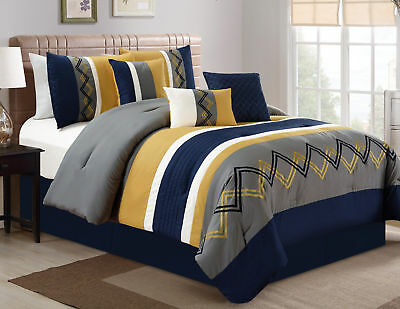 7pc Modern Pleated Stripe Zigzag Embroidered Navy Yellow Comforter Set, Cal King