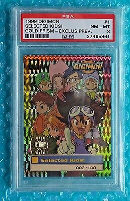 1999 Digimon SELECTED KIDS #1 Gold Prism Exclusive Preview Numbered Card 002/100
