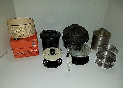 STAINLESS STEEL FILM DEVELOPING 35 MM TANK W/REELS and 2 plastic Tanks