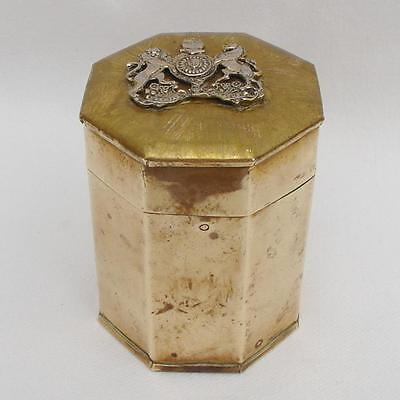 Vintage Brass WW2 Trench Art Tin Container with GENERAL SERVICE CORPS Cap Badge