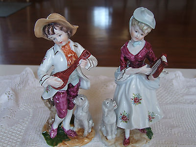 Pair of Vintage Porcelain Figurine Statue  man and lady
