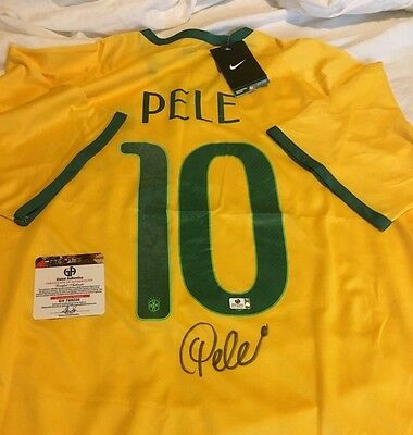 Pele Signed Brazil Soccer World Cup Jersey Autographed Global Authentics COA