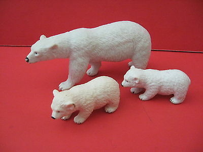 3 Vintage White Polar Bear Cubs Toy Play Figures Made in China Solid PVC Plastic