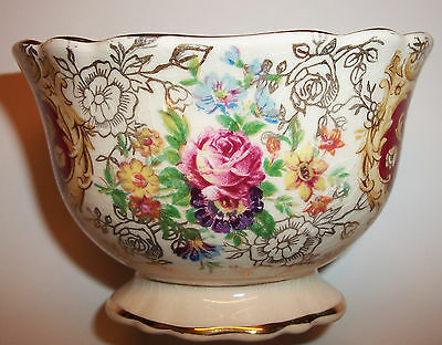 James Kent Old Foley Staffordshire Oval Open Footed Sugar Bowl Roses