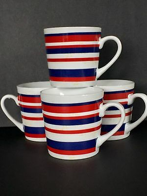 Coffee Mugs Fourth of July Red White Blue Pier 1 Porcelain Large 12 oz Set of 4