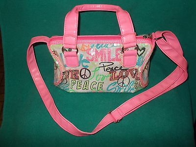 Girls JUSTICE Sequin Pink Peace Signs Love Purse