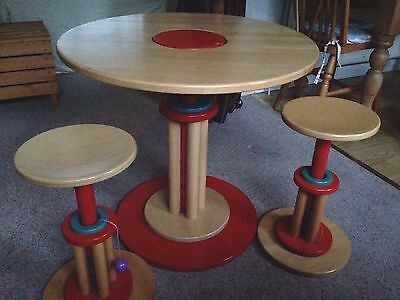 Unique Haba children's height adjustable round solid wood table with two stools