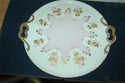 """L.Strauss & Sons Limoges Pink,Gold & White Charger/Platter-France-c1890-14""""x16"""""""