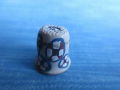 CLEARANCE vintage hand painted shapes wood THIMBLE