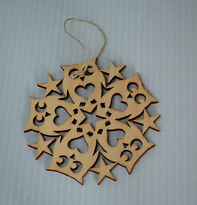 NEW Christmas Hand Cut Ornament Stars and Owls Double sided
