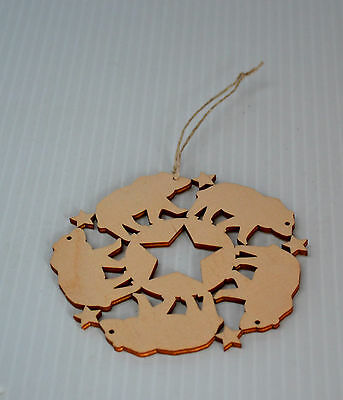 NEW Christmas Hand Made Ornament Stars and Bears Double sided