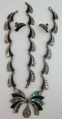 Beautiful Sterling Silver & Abalone Mosaic Necklace, Bracelet, and Earrings Set