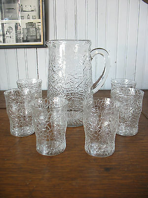 "LE Smith By Cracky or Crackle pattern 8""  Pitcher & 6 tumblers glasses Barware"