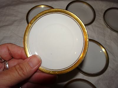 """Lot Set 7 Antique Silesia Porcelain China Small 3"""" Butter Pat Plates Gold Trim"""