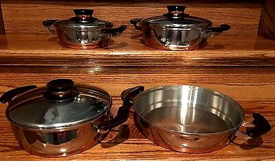 Rare! Mint! Mid Century Presto Pride Copper Bottom Stainless Cookware 7 Pieces!