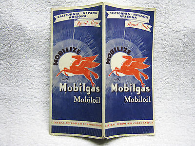 Vintage Mobile Gas Oil Red Horse Road Map