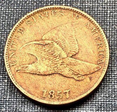 1857 Flying Eagle Cent XF AU