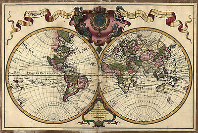 "1720 Map of the WORLD, Earth, antique Print, Europe, America, Asia 20""x14"""