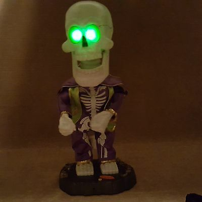 """Gemmy 17"""" Skeleton Halloween Dances Sings Play That Funky Music Laughs Lights Up"""