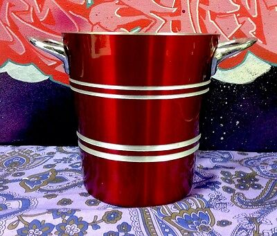Retro Red Anodised Vintage Novo Handled Ice Bucket Tiki Bar Kitsch FREE POST