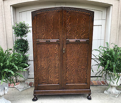 Antique English Carved Tiger Oak Jacobean ARMOIRE WARDROBE Dome Top Large Brass