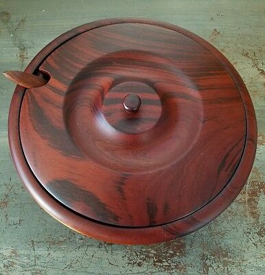 Hand Carved Wooden Bowl w/ Lid & Spoon Wood
