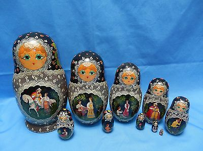 10 Hand Painted & Signed Russian Nesting Dolls ~ Romantic Courting Scenes