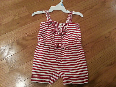 Baby Gap Size 3 months girls romper one-piece red and white striped sleeveless 4