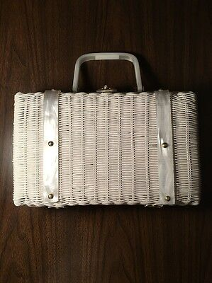 Vintage Basket Purse White 1950's