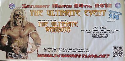 Ultimate Warrior Signed 4' Foot X 8' Foot Banner  Wwf Wwe Autograph Inscription