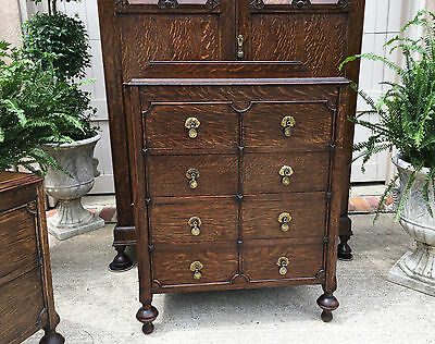 Antique English Carved Tiger Oak Jacobean 4 Drawer Chest End Table Brass Dresser