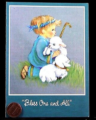 Little Boy Shepherd Hugging Lambs Sheep Bless One & All - Christmas Card  UNUSED