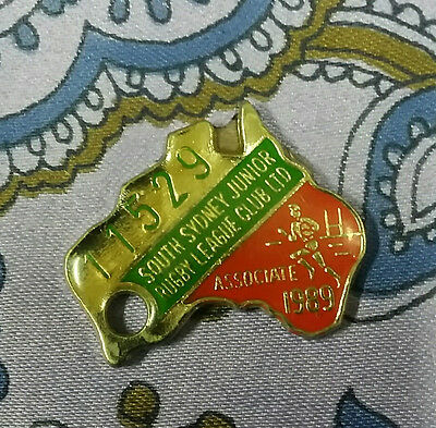 Vintage Enamel South Sydney Junior Rugby League Club 1989 Badge Rabbitos