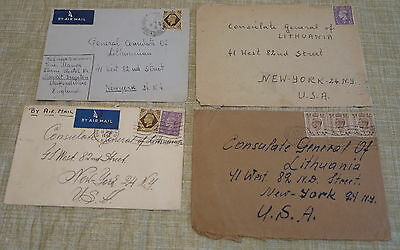 UK GB Lot of 10 1940's Covers to Consulate General of Lithuania