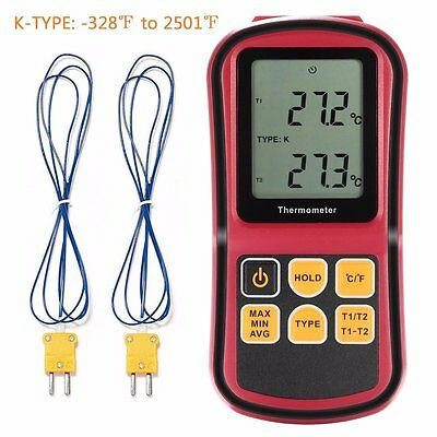 Digital Thermometer, Liumy 110V LCD Dual-channel Temperature Controllers, Meter