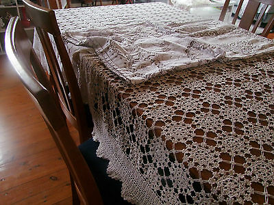 Bulk lot of  4 vintage crochet and   Nottingham Lace Tablecloths * Craft *