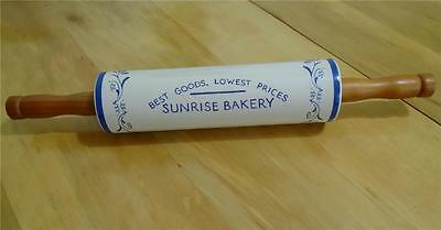 Vintage SUNRISE BAKERY Advertising Ceramic Stoneware ROLLING PIN - BLUE FLORAL