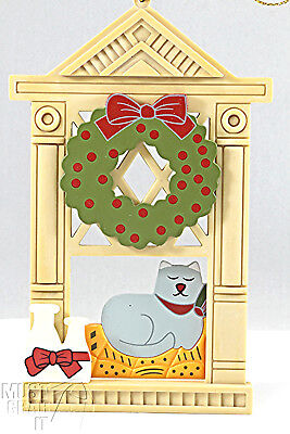 Cat lover 3D Christmas ornament Cat on bed near window 2 sided ornament