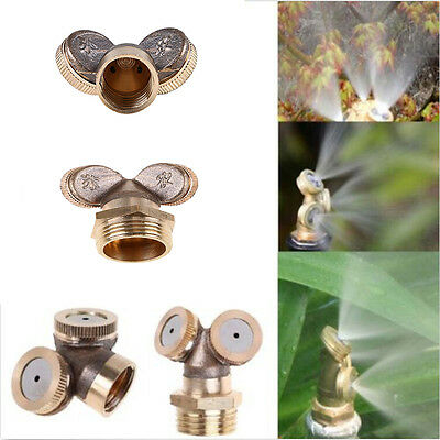1x 2 Hole Brass Spray Misting Nozzle Hose Pipe Set Garden Tap Watering Device
