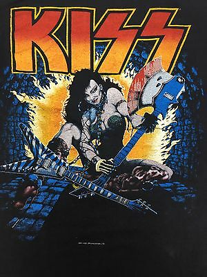 Genuine Vintage KISS 'World Tour '84' Black T Shirt 100% Cotton Made in USA