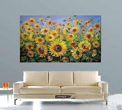 large Hand painted flowers sunflower knife oil painting modern abstract canvas
