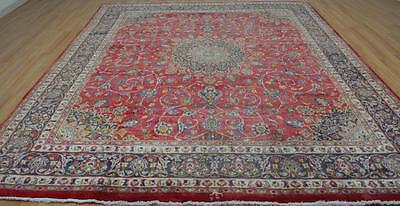 9'5 x 11'4 Genuine Semi Antique Persian Signed Mashad Hand Knotted Wool Area Rug