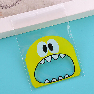 Cute Cartoon Candy Bag Plastic Bags Self Adhesive For Biscuits Snack 3 Colors