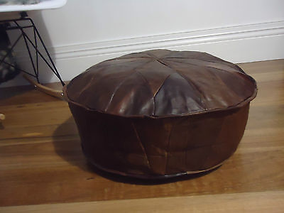 Beautiful Leather Ottoman for use as Coffee Table or Pouf or Pouffe Antique Tan