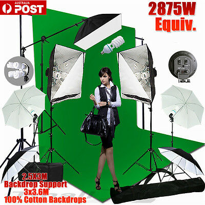 Studio Soft Box Umbrella Softbox Lighting Light Stand Photography  Backdrop Kit