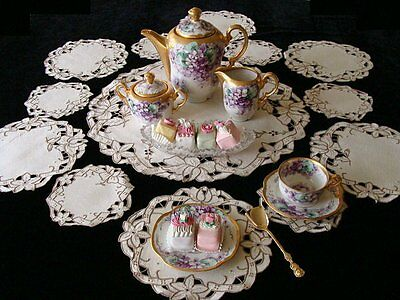 FAB 13pc Vintage MADEIRA Linen Placemats Tea or Dessert Set Cutwork PRISTINE